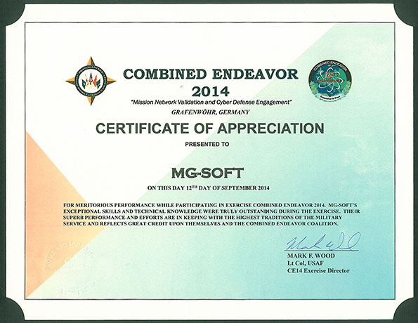 Combined Endeavor 2014 - MG-SOFT Certificate