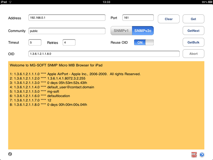 MG-SOFT SNMP Micro MIB Browser for Apple iPad