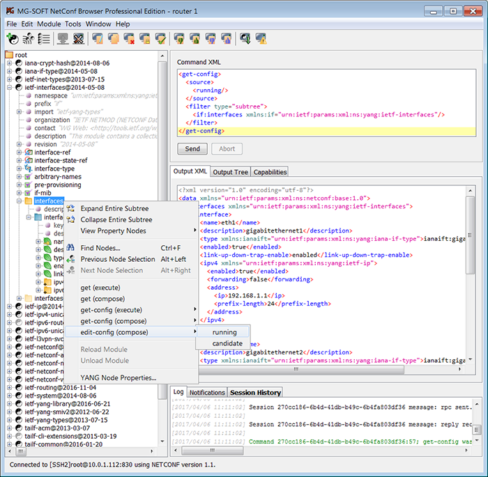 MG-SOFT NETCONF Browser Professional Edition Main window