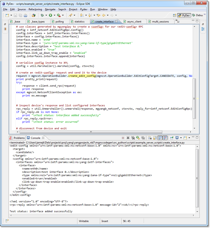 Example of a MG-SOFT NETCONF/YANG Python Scripting System script (in Eclipse IDE)